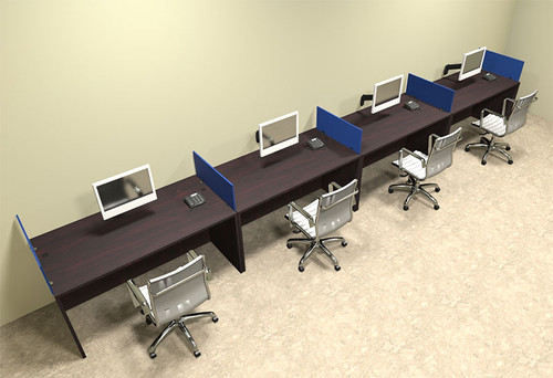 Four Person Blue Divider Office Workstation Desk Set, #OT-SUL-SPB11