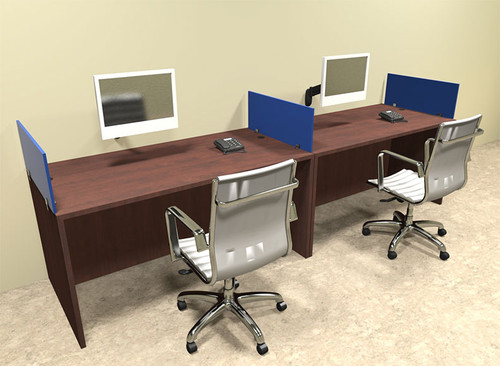 Two Person Blue Divider Office Workstation Desk Set, #OT-SUL-SPB2