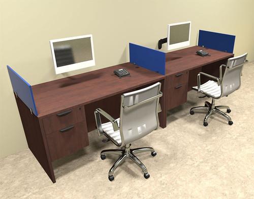 Two Person Blue Divider Office Workstation Desk Set, #OT-SUL-SPB22