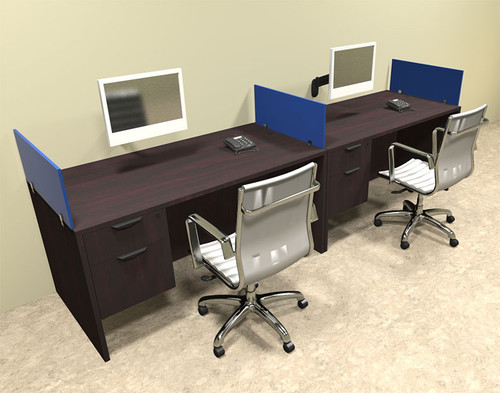 Two Person Blue Divider Office Workstation Desk Set, #OT-SUL-SPB23