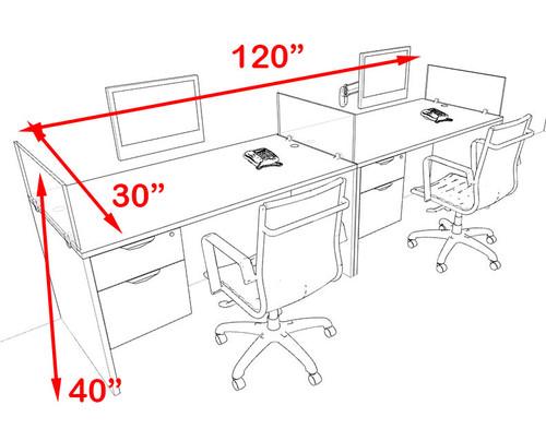 Two Person Blue Divider Office Workstation Desk Set, #OT-SUL-SPB23