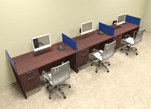 Three Person Blue Divider Office Workstation Desk Set, #OT SUL SPB26 ...