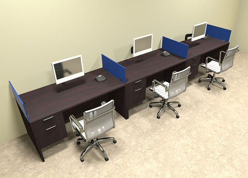 Three Person Blue Divider Office Workstation Desk Set, #OT-SUL-SPB27