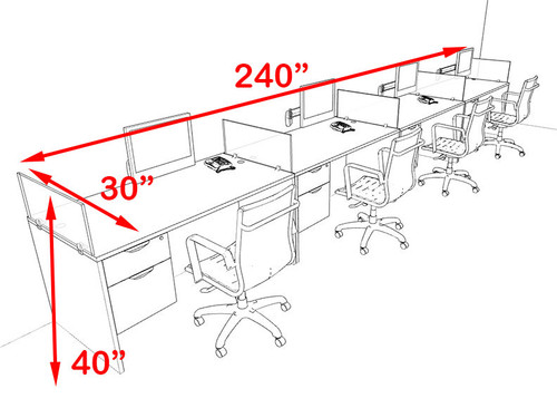 Four Person Blue Divider Office Workstation Desk Set, #OT-SUL-SPB32
