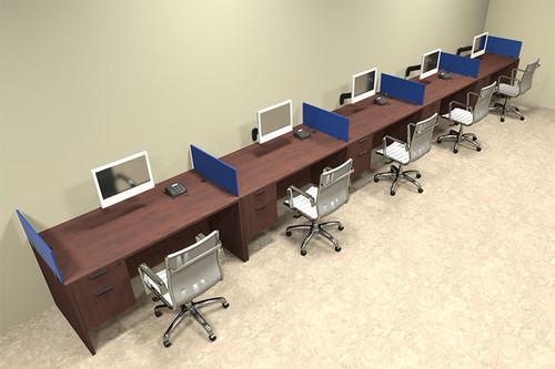 Five Person Blue Divider Office Workstation Desk Set, #OT-SUL-SPB34