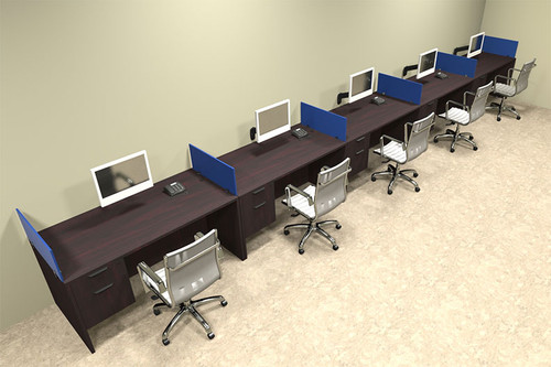 Five Person Blue Divider Office Workstation Desk Set, #OT-SUL-SPB35