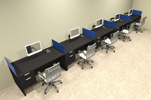 Five Person Blue Divider Office Workstation Desk Set, #OT-SUL-SPB36