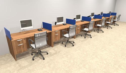 Six Person Blue Divider Office Workstation Desk Set, #OT-SUL-SPB37