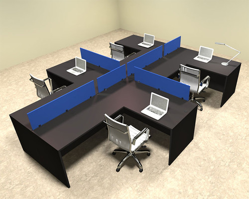 Four Person Blue Divider Office Workstation Desk Set, #OT-SUL-SPB48