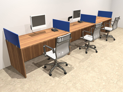 Three Person Blue Divider Office Workstation Desk Set, #OT-SUL-SPB5