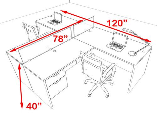 Two Person Blue Divider Office Workstation Desk Set, #OT-SUL-SPB53