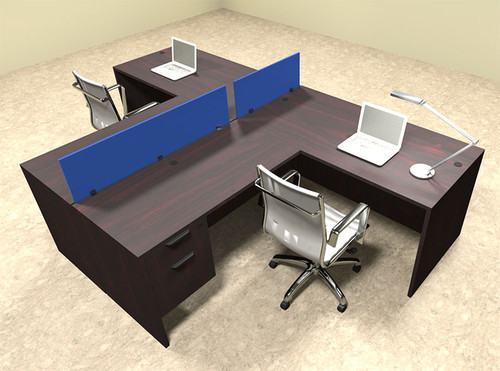 Two Person Blue Divider Office Workstation Desk Set, #OT-SUL-SPB55