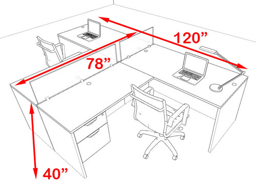 Two Person Blue Divider Office Workstation Desk Set, #OT-SUL-SPB56