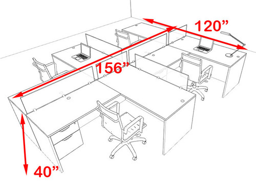Four Person Blue Divider Office Workstation Desk Set, #OT-SUL-SPB59