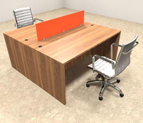 Two Person Orange Divider Office Workstation Desk Set, #OT-SUL-FPO1