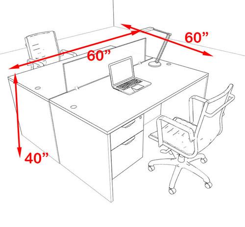 Two Person Orange Divider Office Workstation Desk Set, #OT-SUL-FPO16