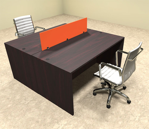 Two Person Orange Divider Office Workstation Desk Set, #OT-SUL-FPO3