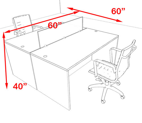 Two Person Orange Divider Office Workstation Desk Set, #OT-SUL-FPO4