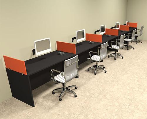 Five Person Orange Divider Office Workstation Desk Set, #OT-SUL-SPO16