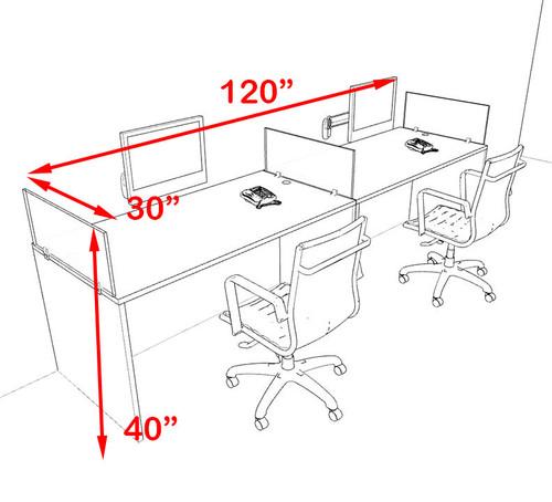 Two Person Orange Divider Office Workstation Desk Set, #OT-SUL-SPO2