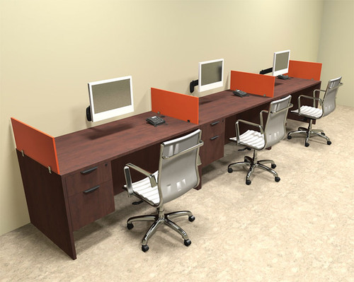 Three Person Orange Divider Office Workstation Desk Set, #OT-SUL-SPO26
