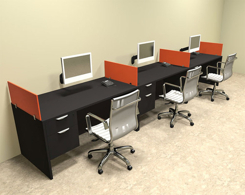 Three Person Orange Divider Office Workstation Desk Set, #OT-SUL-SPO28