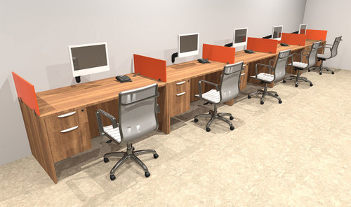 Five Person Orange Divider Office Workstation Desk Set, #OT-SUL-SPO33