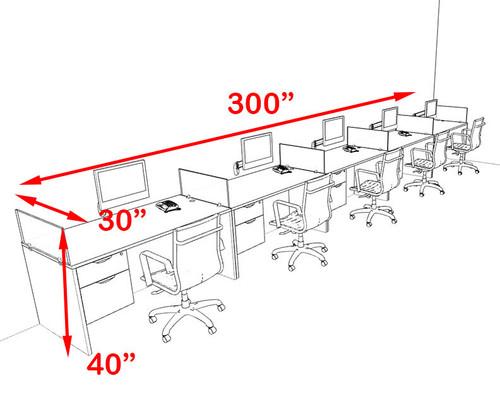 Five Person Orange Divider Office Workstation Desk Set, #OT-SUL-SPO35