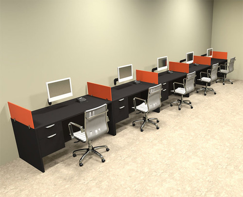 Five Person Orange Divider Office Workstation Desk Set, #OT-SUL-SPO36
