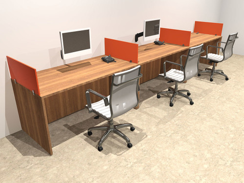 Three Person Orange Divider Office Workstation Desk Set, #OT-SUL-SPO5
