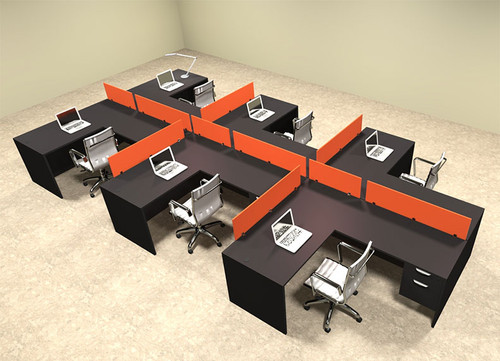 Six Person Orange Divider Office Workstation Desk Set, #OT-SUL-SPO64