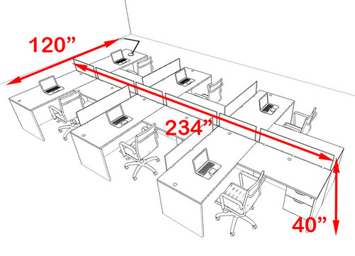 Six Person Orange Divider Office Workstation Desk Set, #OT-SUL-SPO64