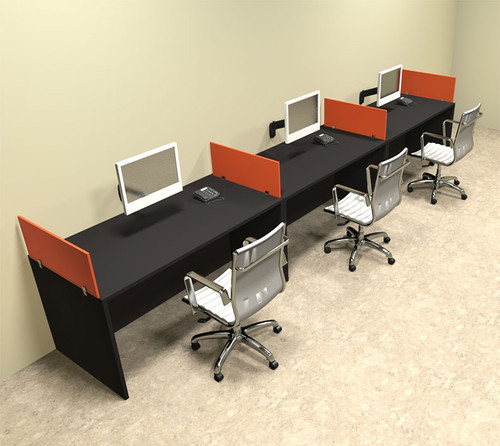 Three Person Orange Divider Office Workstation Desk Set, #OT-SUL-SPO8