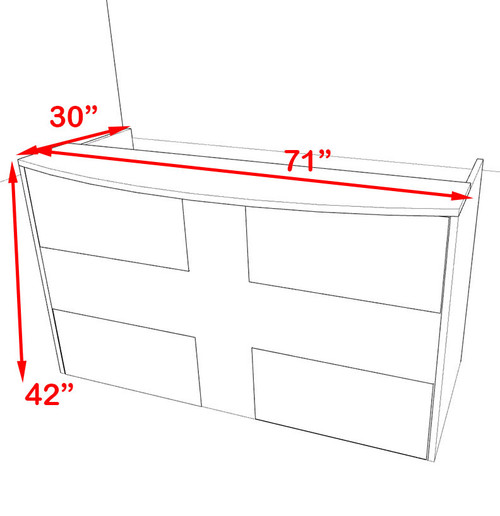 2pc Rectangular Modern Acrylic Panel Office Reception Desk, #OT-SUL-R14