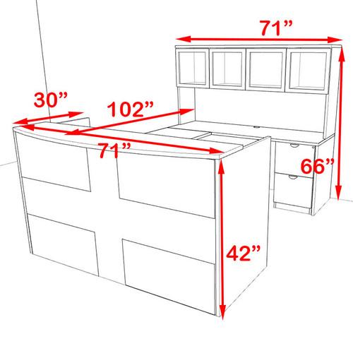 5pc U Shaped Modern Acrylic Panel Office Reception Desk, #OT-SUL-R17