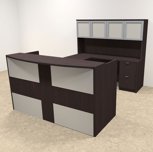 5pc U Shaped Modern Acrylic Panel Office Reception Desk, #OT-SUL-R19