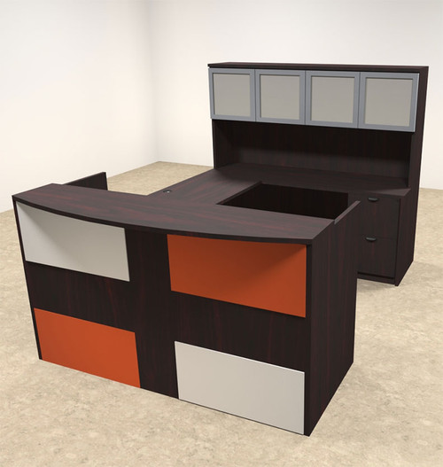 5pc U Shaped Modern Acrylic Panel Office Reception Desk, #OT-SUL-RM43