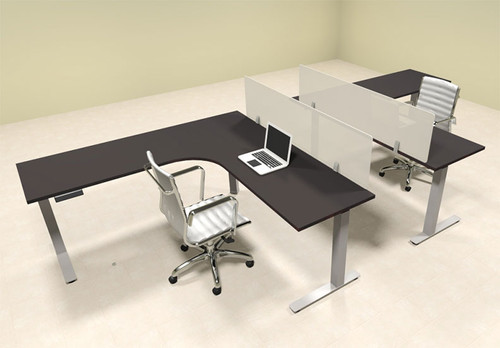 Two Persons L Shaped Power Adjustable Divider Workstation, #OF-CON-HP30