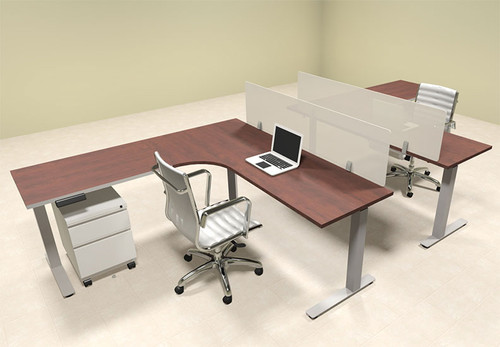 Two Persons L Shaped Power Adjustable Divider Workstation, #OF-CON-HP33