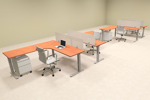 Four Persons L Shaped Power Adjustable Divider Workstation, #OF-CON-HP44