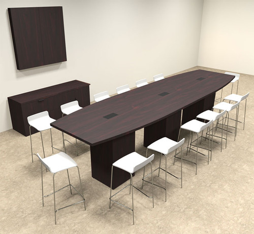 Boat Shape Counter Height 14' Feet Conference Table, #OF-CON-CT17