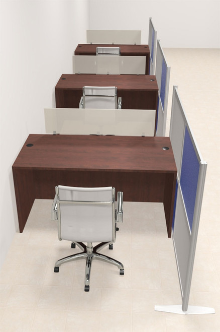 Three Person Workstation w/Acrylic Aluminum Privacy Panel, #OT-SUL-HPB10