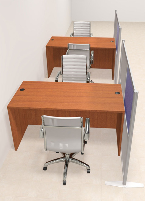 Two Person Workstation w/Acrylic Aluminum Privacy Panel, #OT-SUL-HPB17