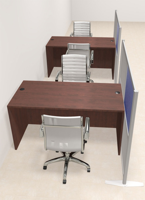Two Person Workstation w/Acrylic Aluminum Privacy Panel, #OT-SUL-HPB18