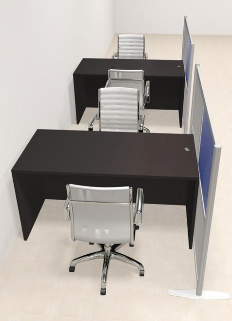 Two Person Workstation w/Acrylic Aluminum Privacy Panel, #OT-SUL-HPB20