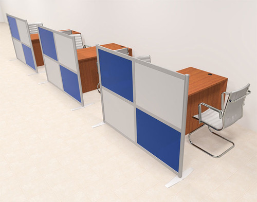 Three Person Workstation w/Acrylic Aluminum Privacy Panel, #OT-SUL-HPB21
