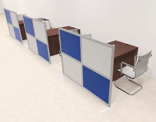 Three Person Workstation w/Acrylic Aluminum Privacy Panel, #OT-SUL-HPB22