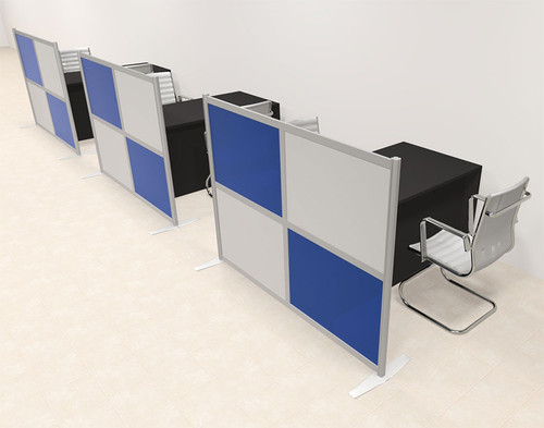 Three Person Workstation w/Acrylic Aluminum Privacy Panel, #OT-SUL-HPB24