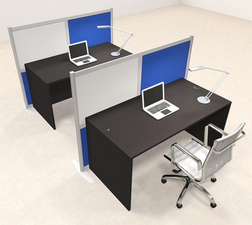 Two Person Workstation w/Acrylic Aluminum Privacy Panel, #OT-SUL-HPB32