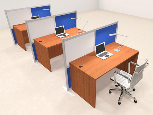 Three Person Workstation w/Acrylic Aluminum Privacy Panel, #OT-SUL-HPB33
